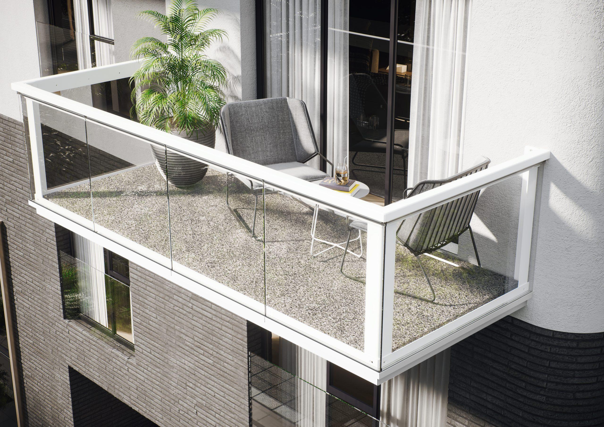 KLARA Balkonbrüstung weiß mit Glaseinsatz