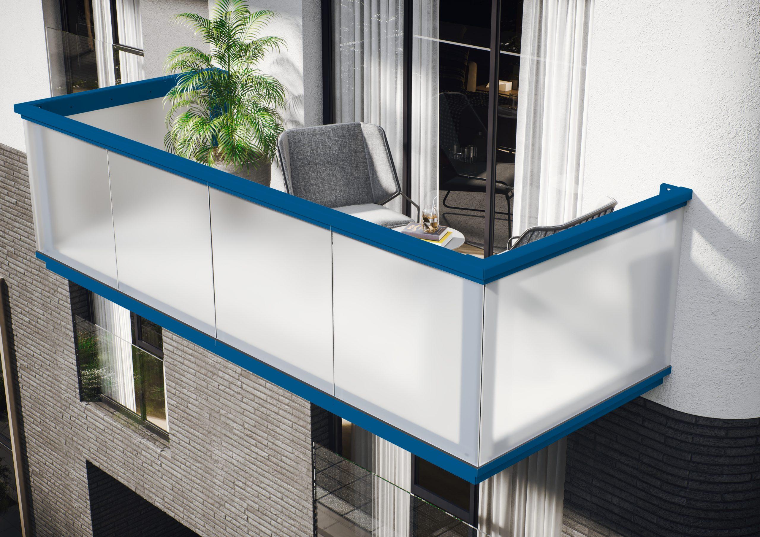 SMILLA Balkonbrüstung blau mit Milchglaseinsatz